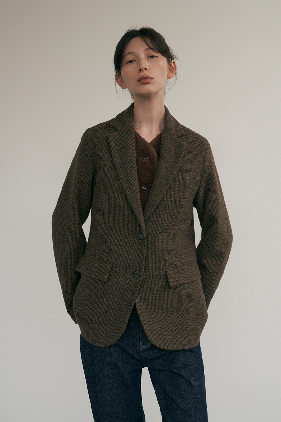 pin check wool jacket