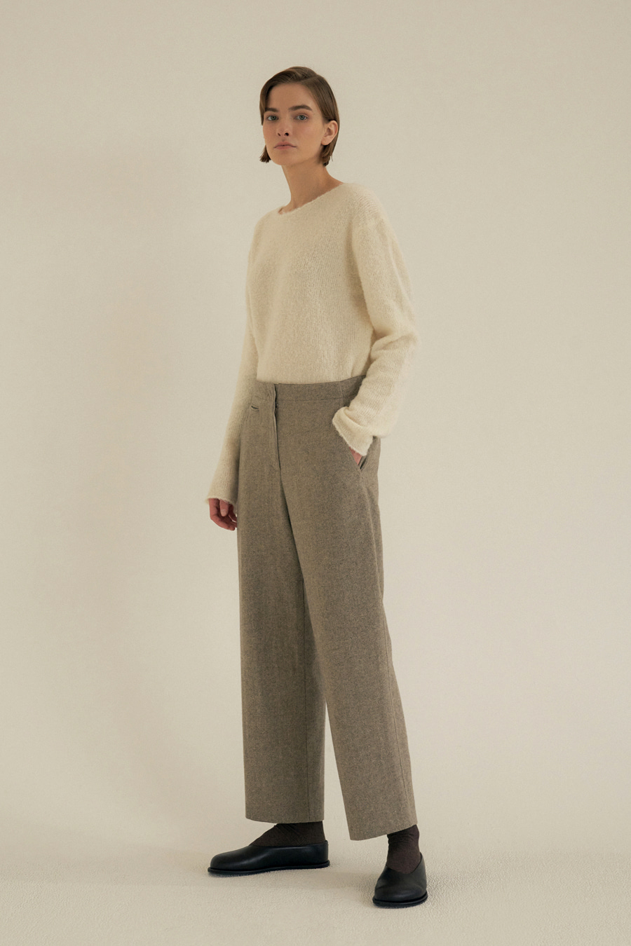 wool straight pants