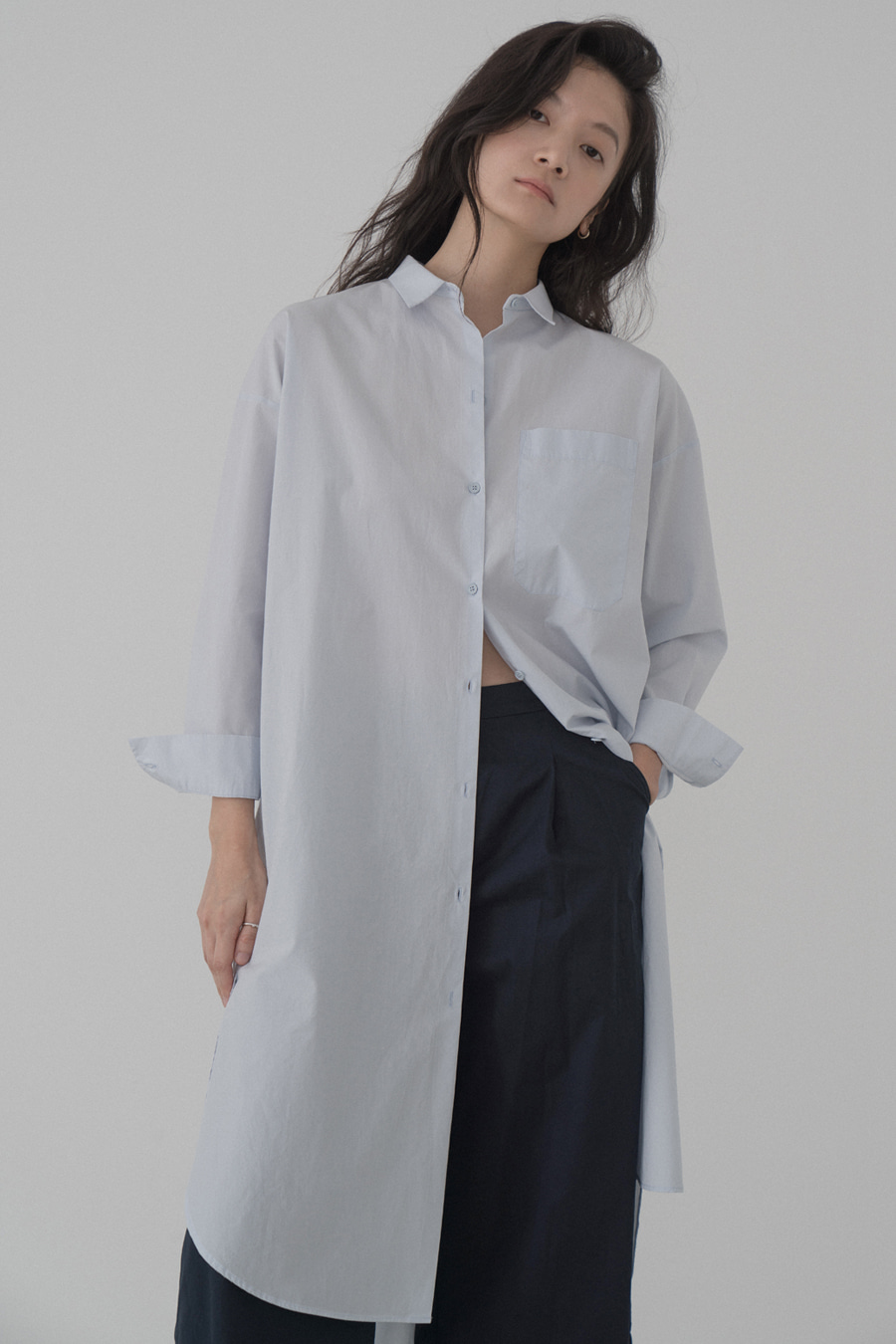 sam loose-fit long shirt(2colors)