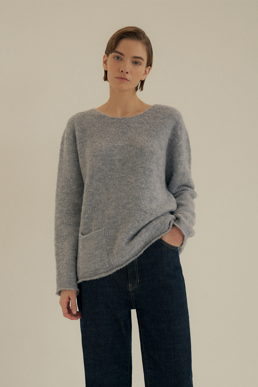 country boucle knit(BLUE)