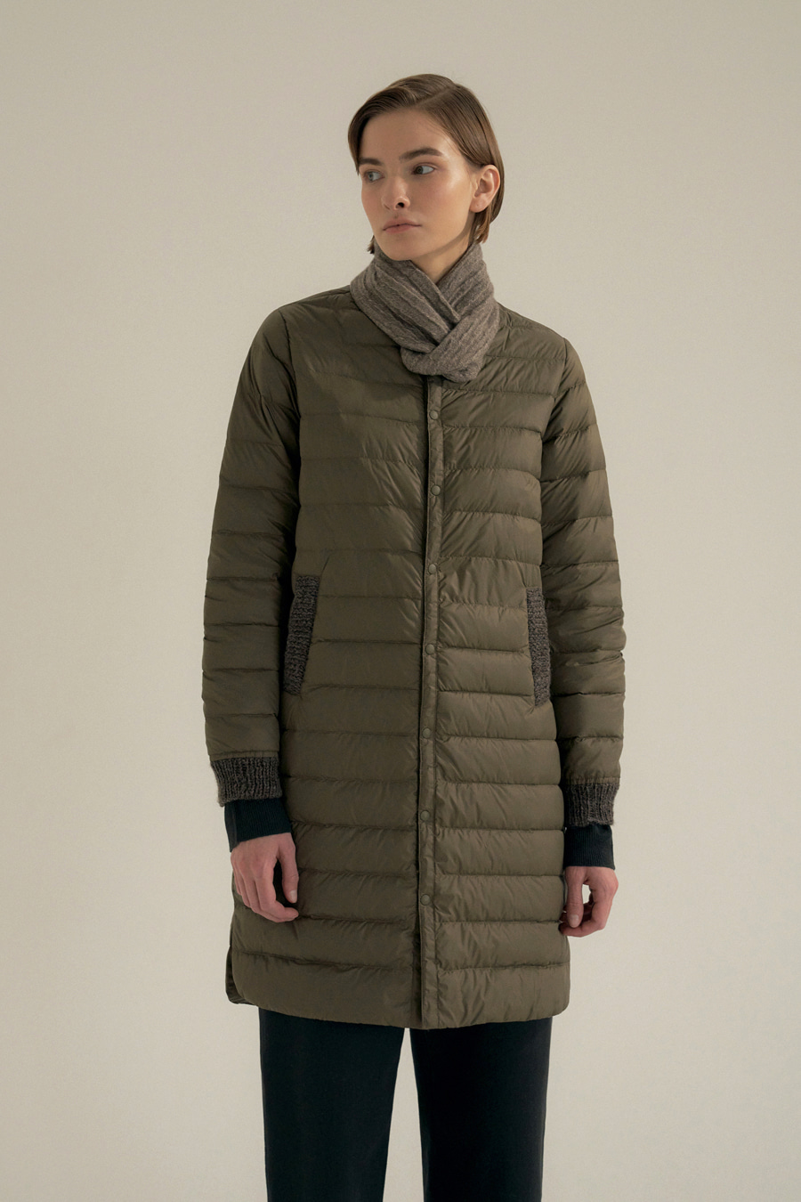 howell light long down jumper(BROWN)