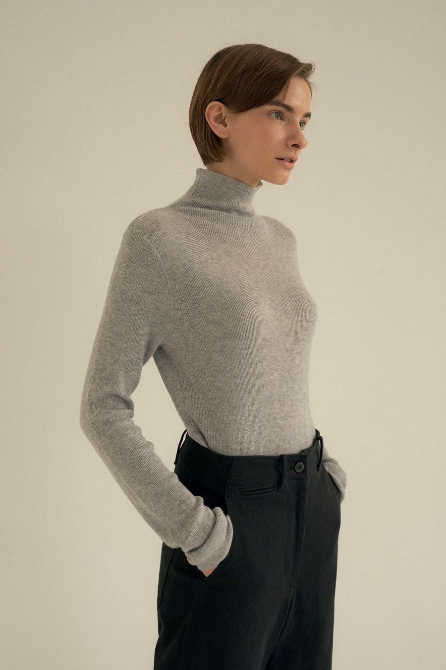 essential turtle-neck knit top(GRAY)