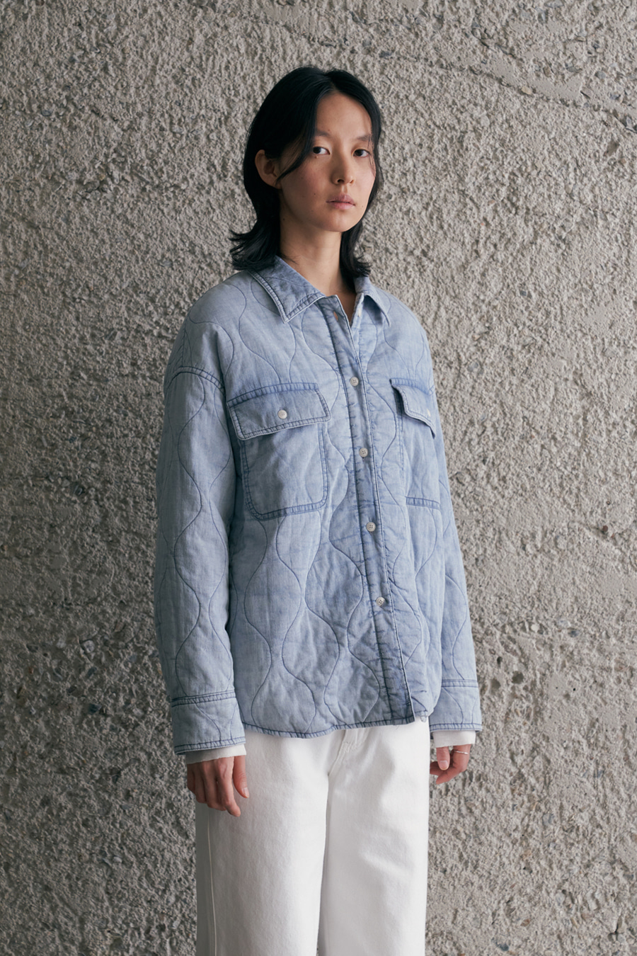 washing denim quilting jacket
